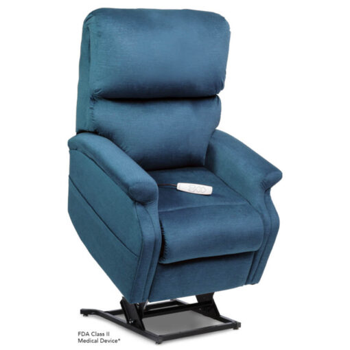 Pride power lift recliner - Infinity Collection – DuraSoft Deep Sky - Lifted position.