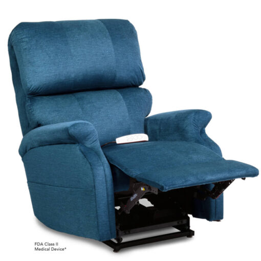 Pride power lift recliner - Infinity Collection – DuraSoft Deep Sky - Reading position.
