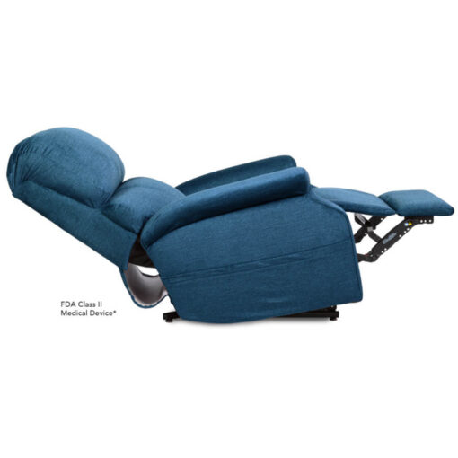 Pride power lift recliner - Infinity Collection – DuraSoft Deep Sky - Reclined position.