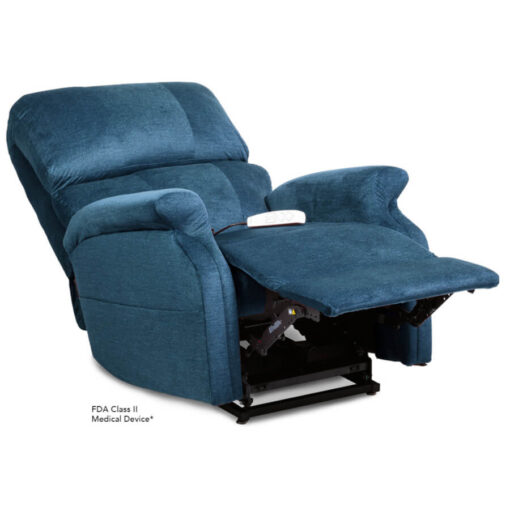 Pride power lift recliner - Infinity Collection – DuraSoft Deep Sky - Reclining position.