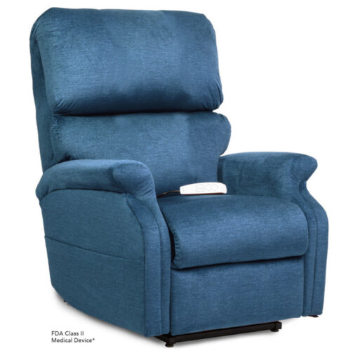 Pride power lift recliner - Infinity Collection – DuraSoft Deep Sky - Seated position.