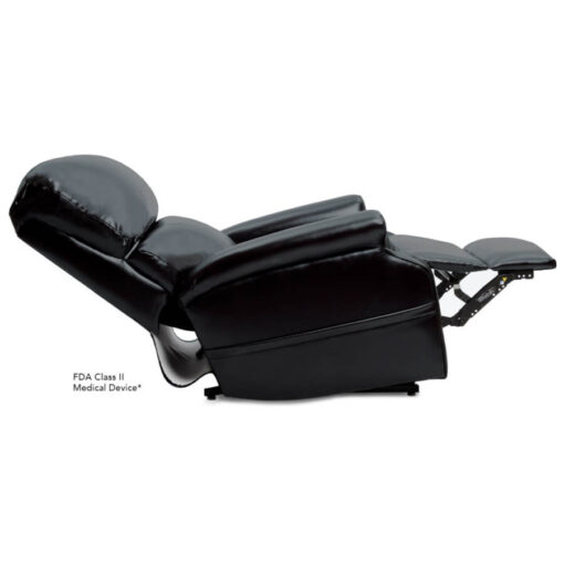 Pride power lift recliner - Infinity Collection – Lexis Sta-Kleen Black – Reclined position.