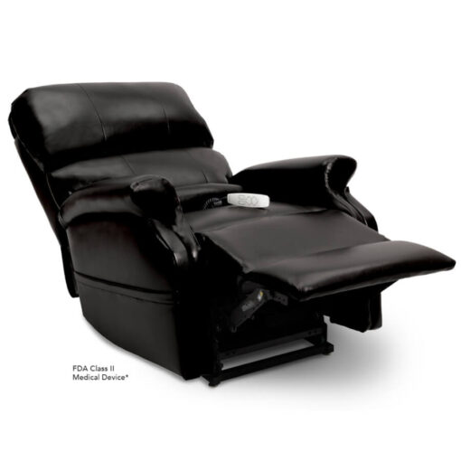 Pride power lift recliner - Infinity Collection – Lexis Sta-Kleen Black – Reclining position.