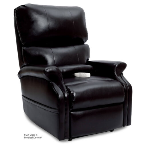 Pride power lift recliner - Infinity Collection – Lexis Sta-Kleen Black – Seated position.