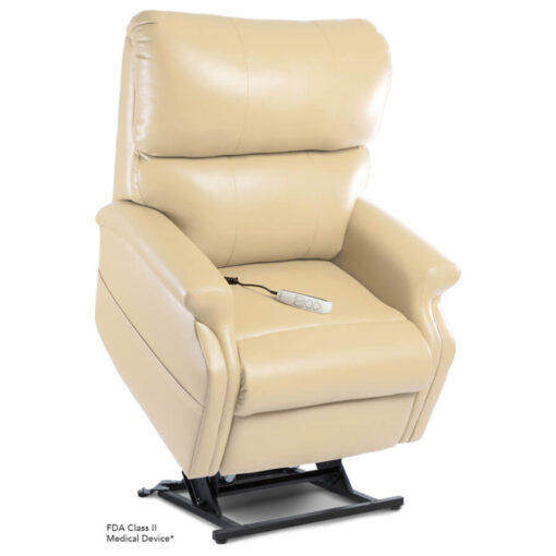 Pride power lift recliner - Infinity Collection – UltraLeather Buff - Lifted position.
