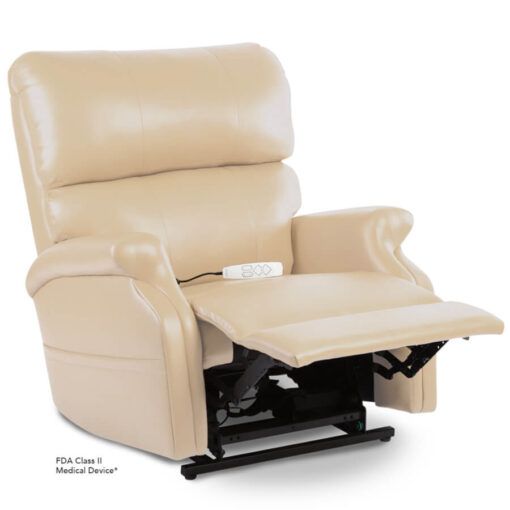 Pride power lift recliner - Infinity Collection – UltraLeather Buff - Reading position.