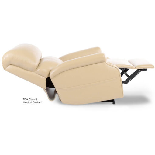 Pride power lift recliner - Infinity Collection – UltraLeather Buff - Reclined position.