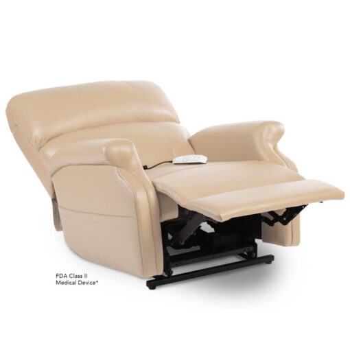 Pride power lift recliner - Infinity Collection – UltraLeather Buff - Reclining position.