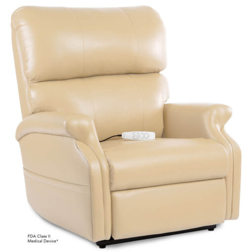 Pride power lift recliner - Infinity Collection – UltraLeather Buff - Seated position.