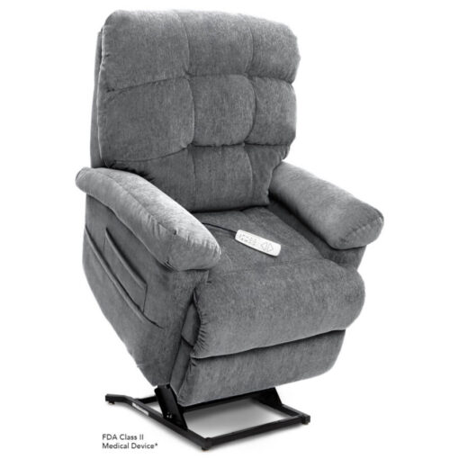 Pride's power lift recliner - Oasis Collection – Crypton Aria Cool Grey - Lifted position.