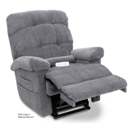 Pride's power lift recliner - Oasis Collection – Crypton Aria Cool Grey - Reading position.