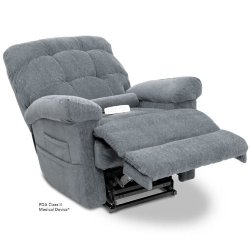 Pride's power lift recliner - Oasis Collection – Crypton Aria Cool Grey - Reclining position.