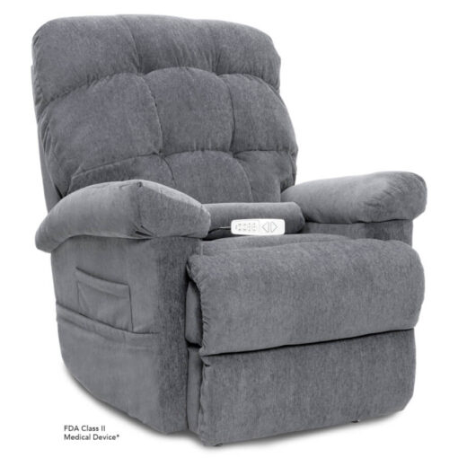 Pride's power lift recliner - Oasis Collection – Crypton Aria Cool Grey - Seated position.