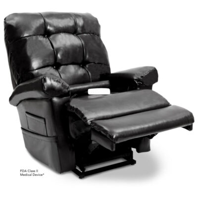 Pride's power lift recliner - Oasis Collection – Lexis Sta-Kleen Black - Reading position.