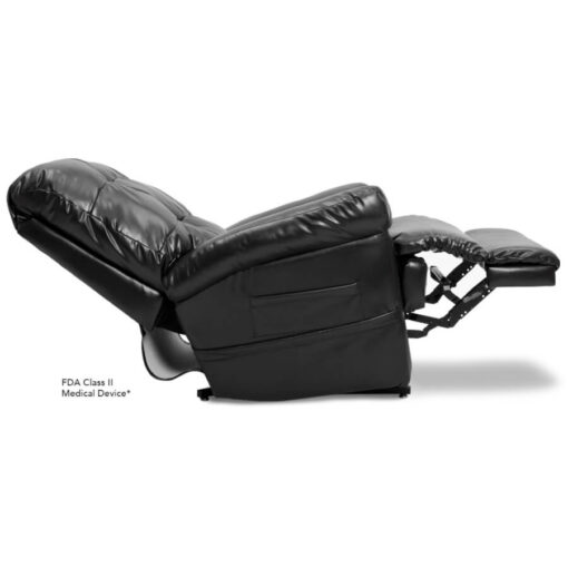 Pride's power lift recliner - Oasis Collection – Lexis Sta-Kleen Black - Reclined position.