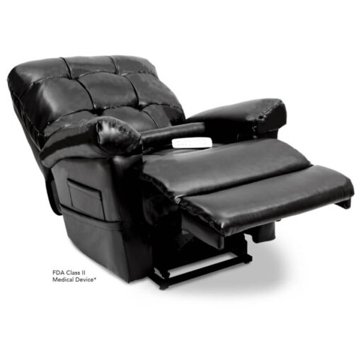 Pride's power lift recliner - Oasis Collection – Lexis Sta-Kleen Black - Reclining position.