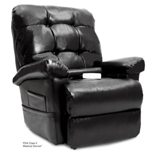 Pride's power lift recliner - Oasis Collection – Lexis Sta-Kleen Black - Seated position.