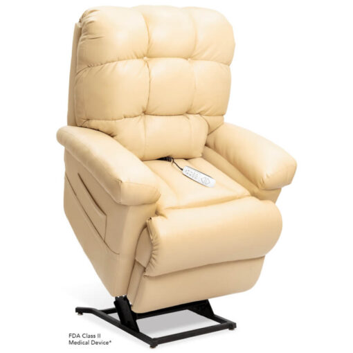 Pride's power lift recliner - Oasis Collection – UltaLeather Buff - Lifted position.