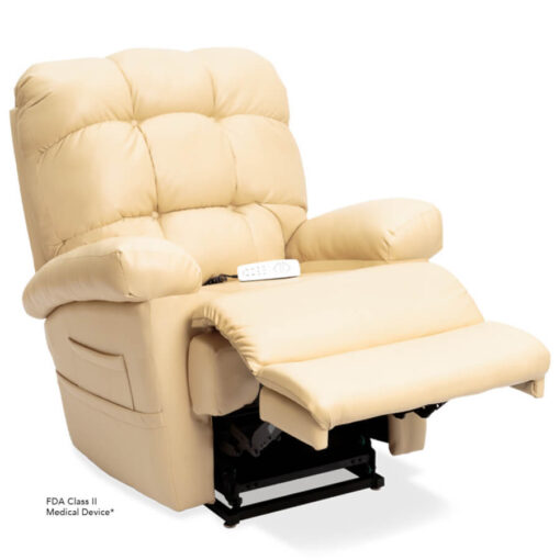 Pride's power lift recliner - Oasis Collection – UltaLeather Buff - Reading position.