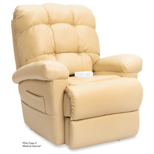 Pride's power lift recliner - Oasis Collection – UltaLeather Buff - Seated position.