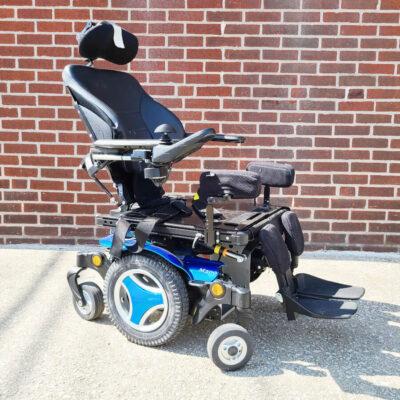 Permobil M300 Power Wheelchair in blue - three quarter view