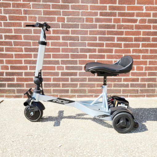 Pride iRide mobility scooter in ice blue - left side view
