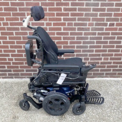 Quickie Pulse 6 Power Wheelchair in blue - right side view