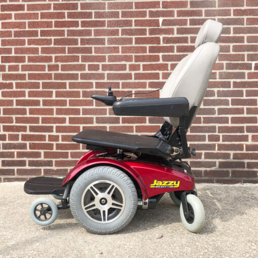 Pride Jazzy Select 14XL Power Wheelchair in red - left side view