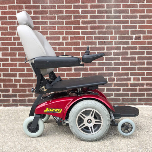 Pride Jazzy Select 14XL Power Wheelchair in red - right side view