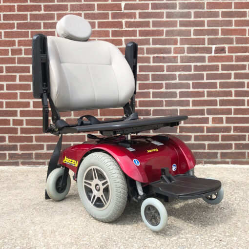 Pride Jazzy Select 14XL Power Wheelchair in red - three quarter view