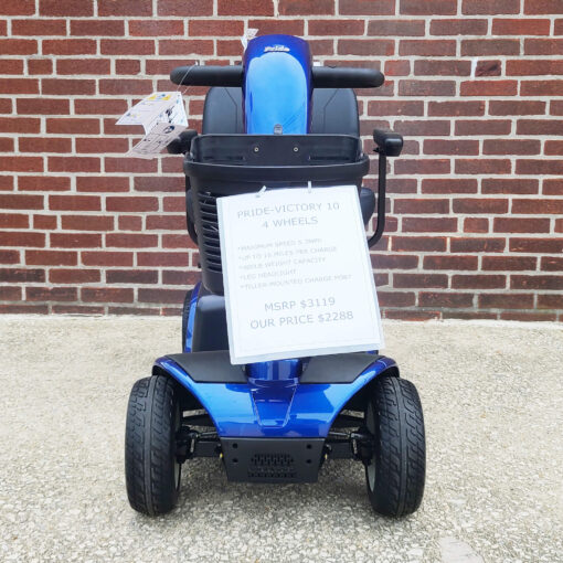 Pride Victory 10 four wheel mobility scooter in blue - front view