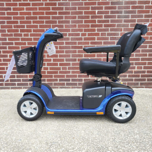 Pride Victory 10 four wheel mobility scooter in blue - left side view
