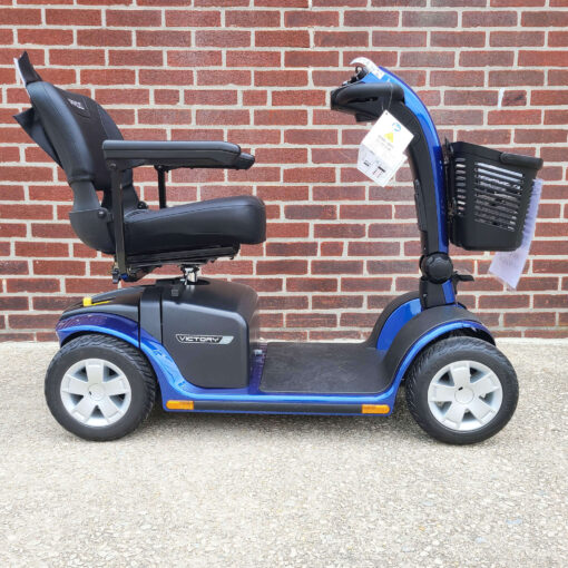 Pride Victory 10 four wheel mobility scooter in blue - right side view