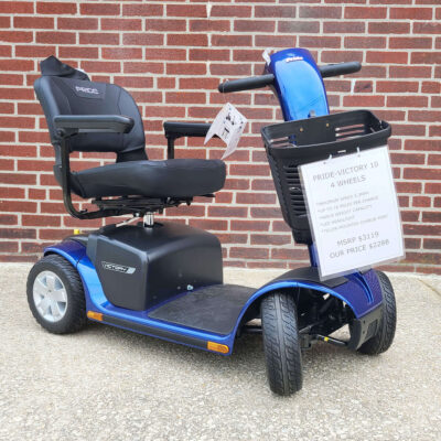 Pride Victory 10 four wheel mobility scooter in blue - three-quarter view